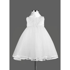 A-Line/Princess Knee-length Flower Girl Dress - Satin Sleeveless High Neck With Lace/Bow(s)