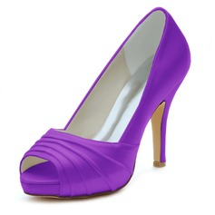 Women's Silk Like Satin Stiletto Heel Peep Toe Pumps