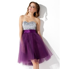 Empire Sweetheart Knee-Length Tulle Cocktail Dress With Beading