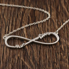 Personalized Ladies' Eternal Love 925 Sterling Silver Name Necklaces For Bridesmaid/For Mother