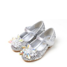 Girl's Sparkling Glitter Flat Heel Round Toe Closed Toe Flats With Sequin Velcro Crystal