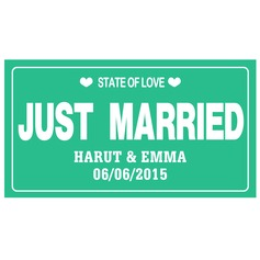 "Personalized ""Just Married"" Press Board Licence Plate"