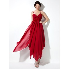 Empire V-neck Ankle-Length Chiffon Homecoming Dress With Ruffle