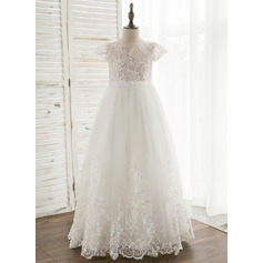 A-Line/Princess Floor-length Flower Girl Dress - Tulle/Lace Short Sleeves Scoop Neck