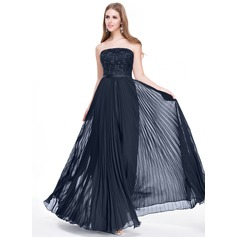 A-Line/Princess Strapless Floor-Length Chiffon Lace Prom Dresses With Beading Sequins Pleated