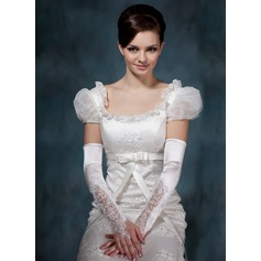 Elastic Satin Opera Length Bridal Gloves