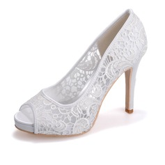 Women's Lace Satin Stiletto Heel Peep Toe Pumps Sandals
