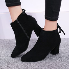 Women's Suede Chunky Heel Boots Ankle Boots With Zipper Lace-up shoes
