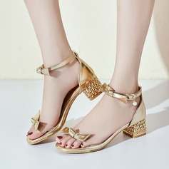 Women's PU Chunky Heel Sandals Peep Toe With Bowknot Imitation Pearl Buckle Jewelry Heel shoes