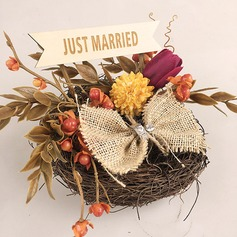 Personalized Rustic Twig Ring Holder With Artifical Flower