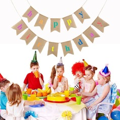 """Happy Birthday"" Linen Photo Booth Props/Banner"
