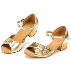 Kids' Sparkling Glitter Heels Sandals Latin Ballroom With Buckle Dance Shoes