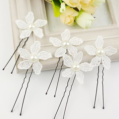 Cotton Hairpins With Venetian Pearl (Set of 6)