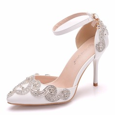 Women's Leatherette Spool Heel Closed Toe With Crystal