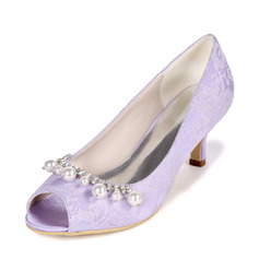Women's Lace Satin Low Heel Stiletto Heel Peep Toe Pumps With Pearl