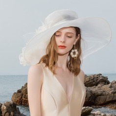 Ladies ' Elegantní Organza/Tyl Bowler / Cloche Hat/Kentucky Derby Klobouky