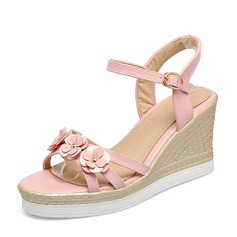 Women's PVC Wedge Heel Sandals Wedges Peep Toe Slingbacks With Buckle Flower shoes