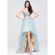 A-Line/Princess Sweetheart Asymmetrical Tulle Prom Dress With Ruffle Beading Sequins