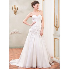 A-Line/Princess Sweetheart Court Train Taffeta Wedding Dress With Ruffle Beading Flower(s) Sequins
