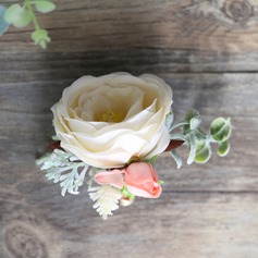 Lovely Round Satin Boutonniere (Sold in a single piece) - Boutonniere