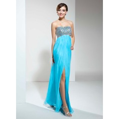Empire Sweetheart Floor-Length Chiffon Sequined Prom Dress With Ruffle Beading Bow(s) Split Front