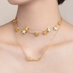 Christmas Gifts For Her - Custom 18k Gold Plated Star Carrie Name Necklace With Star (Set of 2) (288215400)