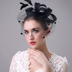 Ladies' Beautiful/Elegant Net Yarn With Feather/Silk Flower/Tulle Fascinators