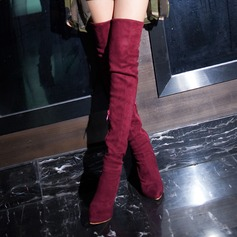 Women's Suede Stiletto Heel Pumps Boots Over The Knee Boots With Zipper shoes (088140227)