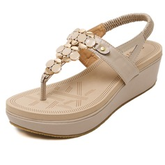 Women's Leatherette Wedge Heel Sandals With Chain shoes