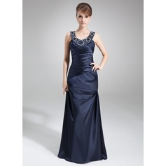 Sheath/Column Scoop Neck Floor-Length Charmeuse Mother of the Bride Dress With Ruffle Beading