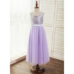 A-Line/Princess Ankle-length Flower Girl Dress - Tulle/Sequined Sleeveless Straps