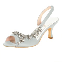 Women's Satin Spool Heel Peep Toe Sandals With Rhinestone