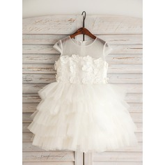 Empire Knee-length Flower Girl Dress - Satin/Tulle/Lace/Cotton Short Sleeves Scoop Neck With Beading/Flower(s)