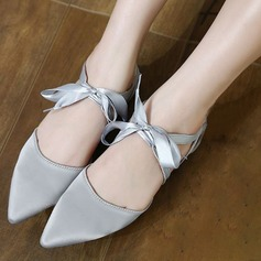 Women's Satin Flat Heel Flats Closed Toe With Lace-up shoes