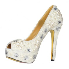 Patent Leather Stiletto Heel Sandals Platform Peep Toe With Rhinestone Imitation Pearl shoes (085026626)