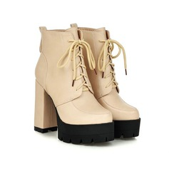 Women's Leatherette Chunky Heel Platform Closed Toe Ankle Boots With Braided Strap shoes