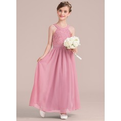 A-Line Ankle-length Flower Girl Dress - Chiffon/Lace Sleeveless Scoop Neck