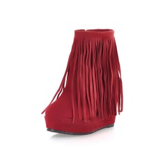 Women's Suede Flat Heel Platform Ankle Boots With Tassel shoes