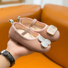 Girl's Round Toe Closed Toe Leatherette Flat Heel Flats Flower Girl Shoes With Elastic Band
