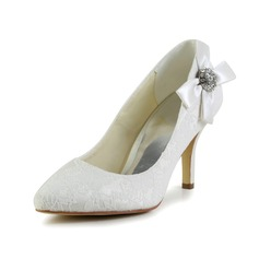 Women's Satin Cone Heel Closed Toe Pumps With Bowknot Rhinestone