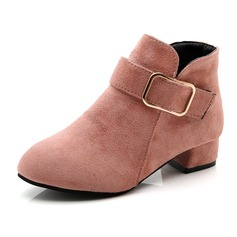 Girl's Round Toe Ankle Boots Suede Flat Heel Flats Boots With Buckle Zipper