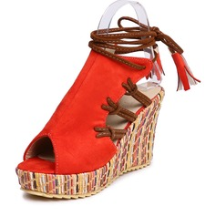 Women's Suede Wedge Heel Sandals Wedges With Lace-up shoes (116166990)
