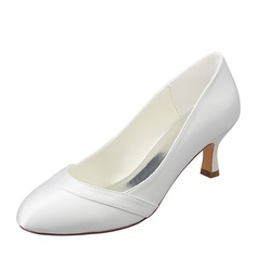 Women's Silk Like Satin Stiletto Heel Closed Toe Pumps With Split Joint