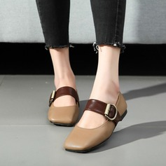 Women's Leatherette Chunky Heel Flats Closed Toe With Buckle shoes (086117977)