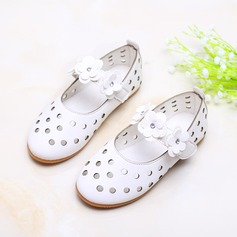 Girl's Closed Toe Leatherette Flat Heel Flats Flower Girl Shoes With Velcro Flower Hollow-out