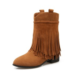 Women's Suede Low Heel Boots Mid-Calf Boots With Tassel shoes (088151102)