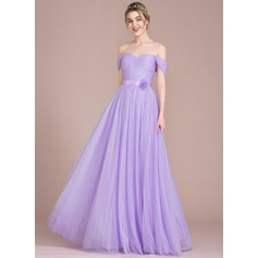 A-Line/Princess Off-the-Shoulder Floor-Length Tulle Bridesmaid Dress With Ruffle Flower(s)