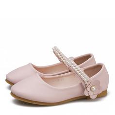 Mädchens Round Toe Geschlossene Zehe Microfaser-Leder Flache Ferse Flache Schuhe Blumenmädchen Schuhe mit Klettverschluss Blume
