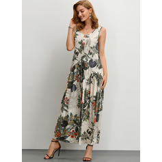 Cotton/Linen With Button/Print Maxi Dress (199222443)