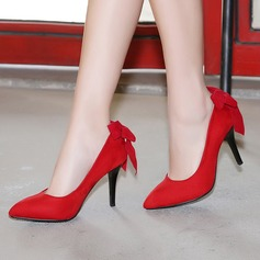 Women's Suede Stiletto Heel Pumps With Bowknot shoes (085103268)